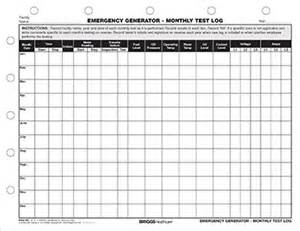 emergency generator monthly test log