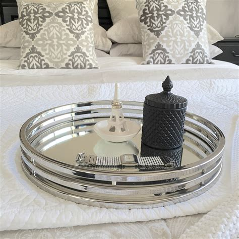 Stylish Bathroom Lighting - round silver amp mirror tray xlarge humble home