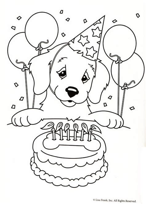 Puppy Birthday Coloring Page | lisa frank coloring page coloring pages pinterest