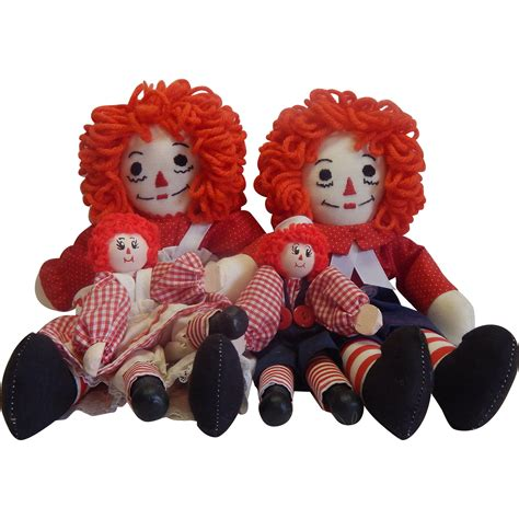 Handmade Raggedy Dolls - four handmade raggedy and andy dolls from
