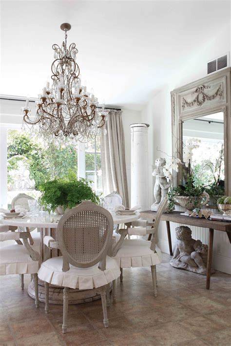 gray chair  neutral slipcovers french country dining room