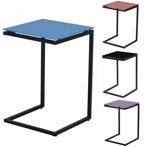 Glass End Table With L by Side End L Table Square Glass Black Blue Purple