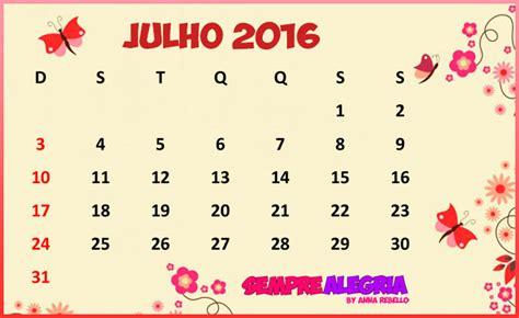 Calendario 9 De Julho Calend 225 Sempre Alegria