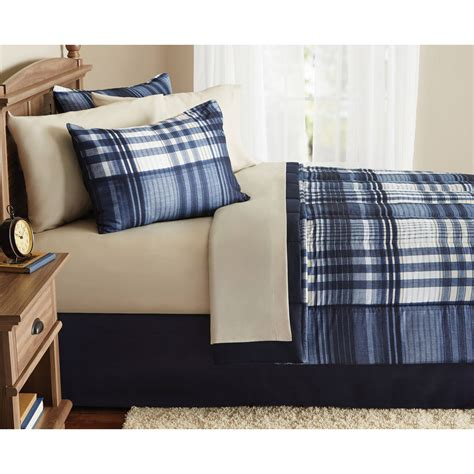 mainstays bed in a bag mainstays indigo plaid bed in a bag complete bedding set free shipping