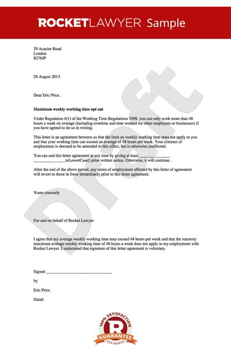Contract Change Letter Sle Opt Out Of The Working Time Directive Working Time Regulations Opt Out