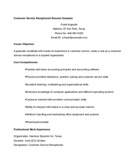 Sle Resume For Customer Service Receptionist 28 Receptionist Customer Service Resume Professional Receptionist Resume Templates To