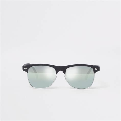 Retro Sunglasses boys black retro half frame mirror sunglasses sunglasses