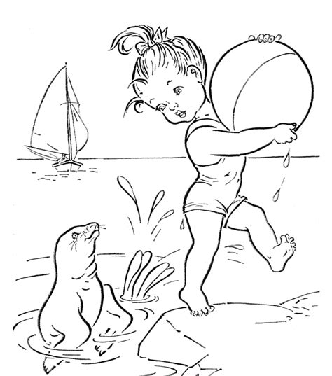 fun beach together coloring pages