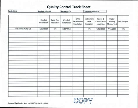 quality sheets 7 12 13 contech quality control track sheet