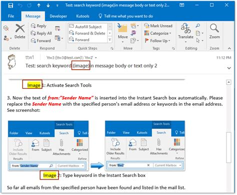 Search Email In Outlook How To Search In Email Messages Text In Outlook
