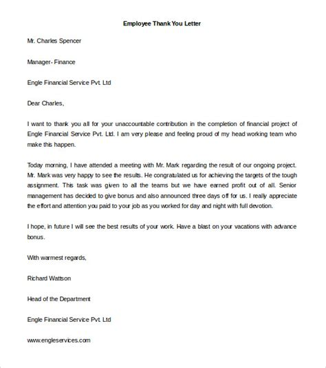 Thank You Letter Template To Employee Free Thank You Letter Templates 40 Free Word Pdf Documents Free Premium Templates