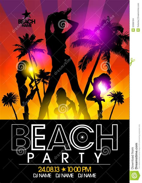 beach party design template stock images image 32688184