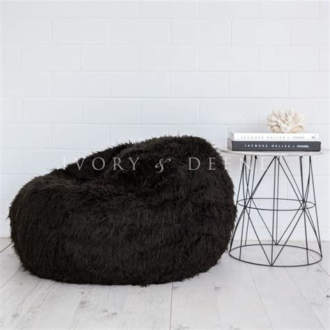 shaggy bean bag chair polo shaggy fur bean bag chair cover in black buy bean bags