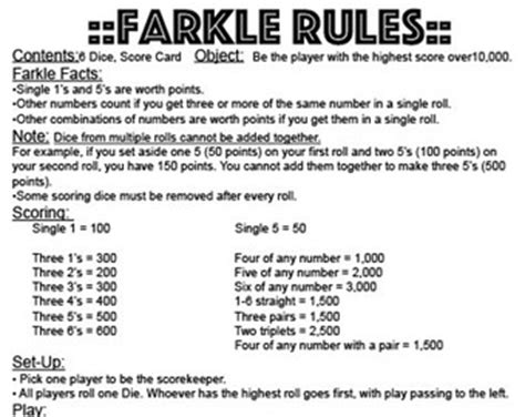 printable zilch instructions printable farkle rules dice game pictures to pin on