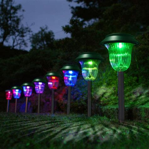 Patio Solar Lights 10pcs Set Plastic Garden Led Color Changing Solar Lawn Lights Pathway Outdoor Garden Path