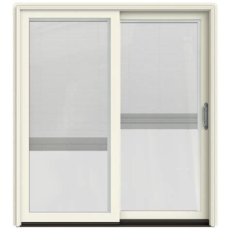 Patio Doors With Blinds Inside Glass Shop Jeld Wen W 2500 71 25 In Blinds Between The Glass Vanilla Wood Sliding Patio Door