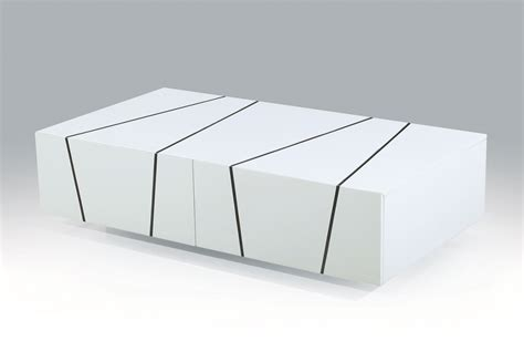 Unique White Zebra High Gloss Coffee Table with Storage