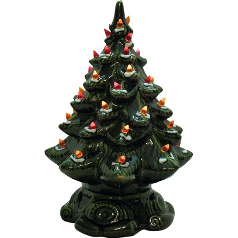 small vintage ceramic tree light up base faux plastic lights from teesantiqueorchard