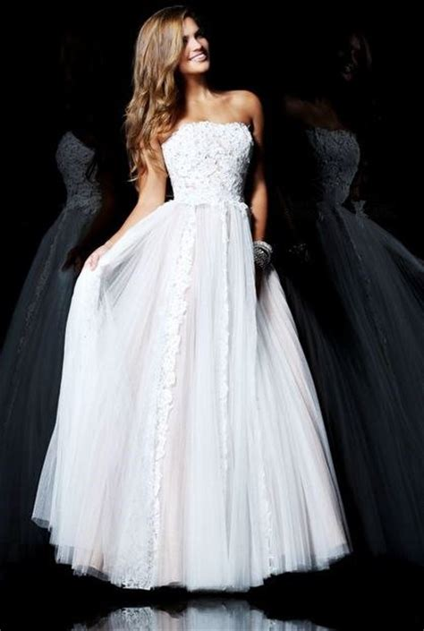 sherri hill strapless tulle and lace body con dress cute a line princess strapless long white tulle lace