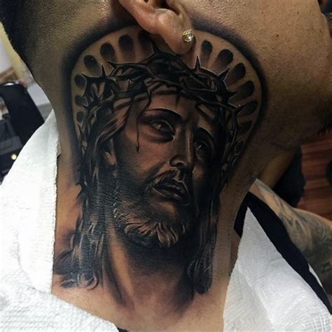 27 nice jesus neck tattoos