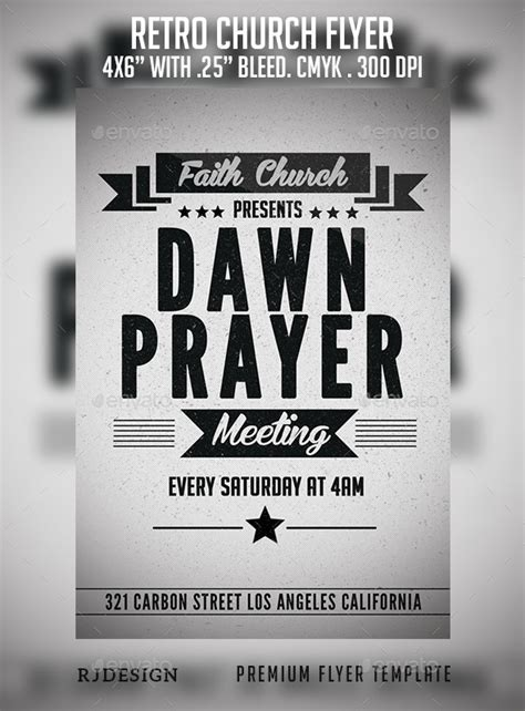 Retro Church Flyer Flyer Template Template And Flyer Design Templates Prayer Flyer Template