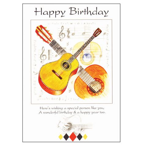Birthday Musical Cards Happy Birthday Card Guitar Design Sheet Music From Music