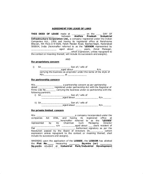 Land Rental Contract Template by Land Lease Template 7 Free Word Pdf Documents