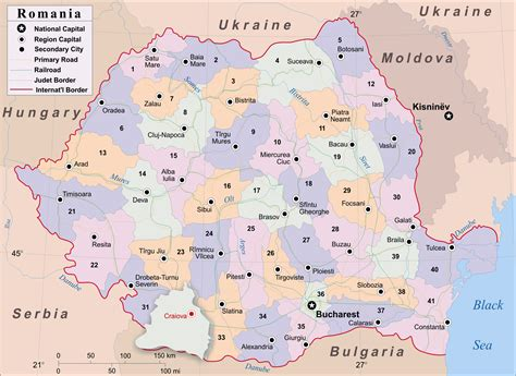 romania map with cities large administrative map of romania with cities vidiani