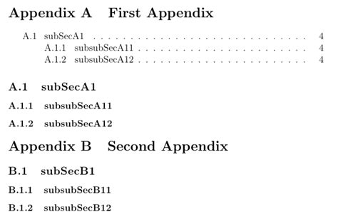 latex appendix tutorial table of contents inside an appendices environment tex
