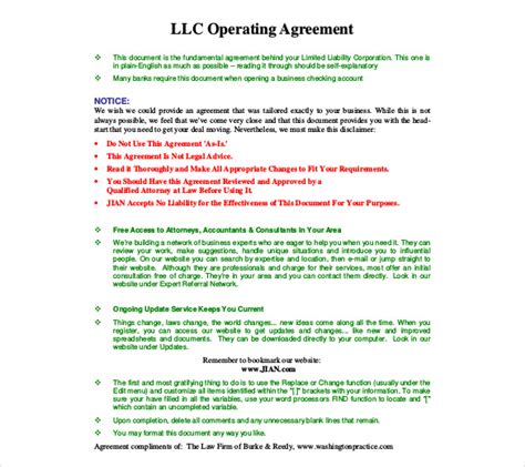 llc purchase agreement template 7 free operating agreement templates u2013 stationery