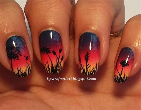 365 days of nail art sunset nails