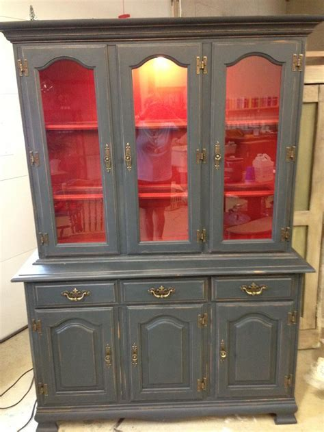 Graphite and emperors silk painted hutch using Annie Sloan