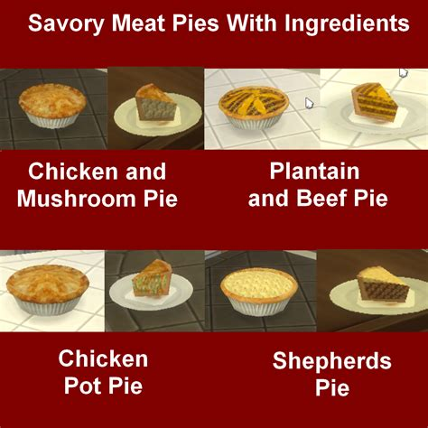 Custom Food mod the sims savory pies with ingredients