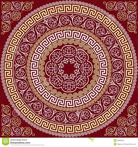 pattern round background vector traditional vintage gold greek ornament me stock
