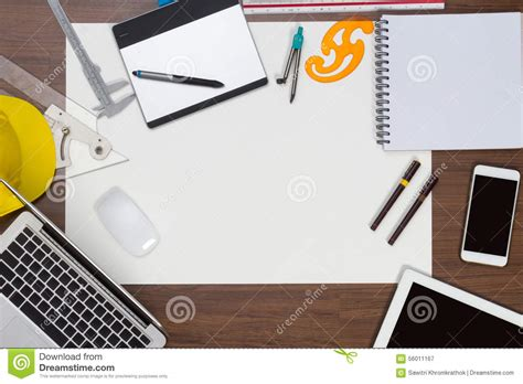 Computer Desk Background Office Desk Background With Construction Project Stock Image Image 56011167