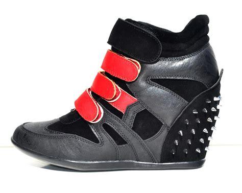 black high heel sneakers womens black faux leather high top wedge heels