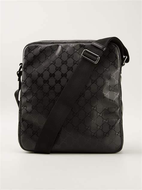 lyst gucci monogram shoulder bag  black  men