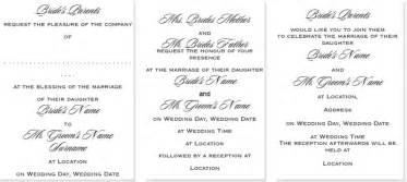 wedding wording styles