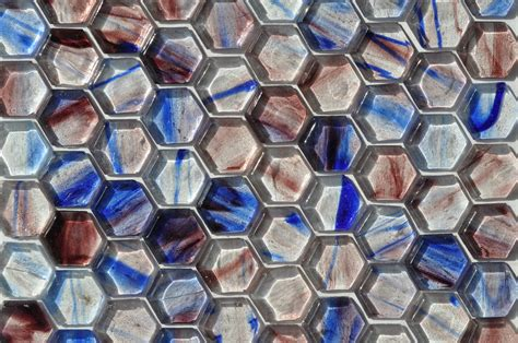 fusion brown pattern glass mosaic fusion glass blue lavender and white hex pattern 08s