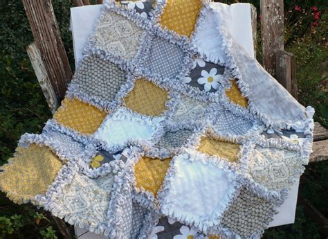 Mustard Yellow Quilt by Retro Baby Rag Quilt Gray And Mustard Yellow
