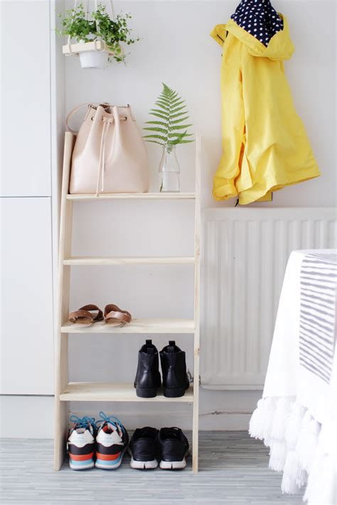 diy shoe shelves diy ladder shelf shoe storage design sponge