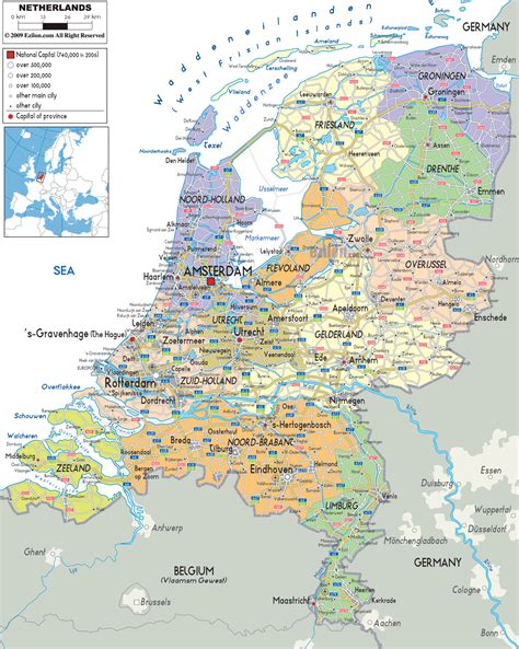 netherlands map map maps of detailed map of in