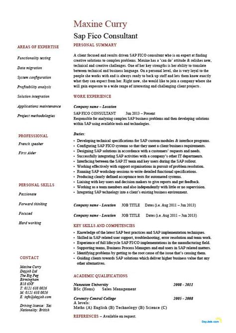 sap hcm resume sle sap support resume sap fi module resume format template