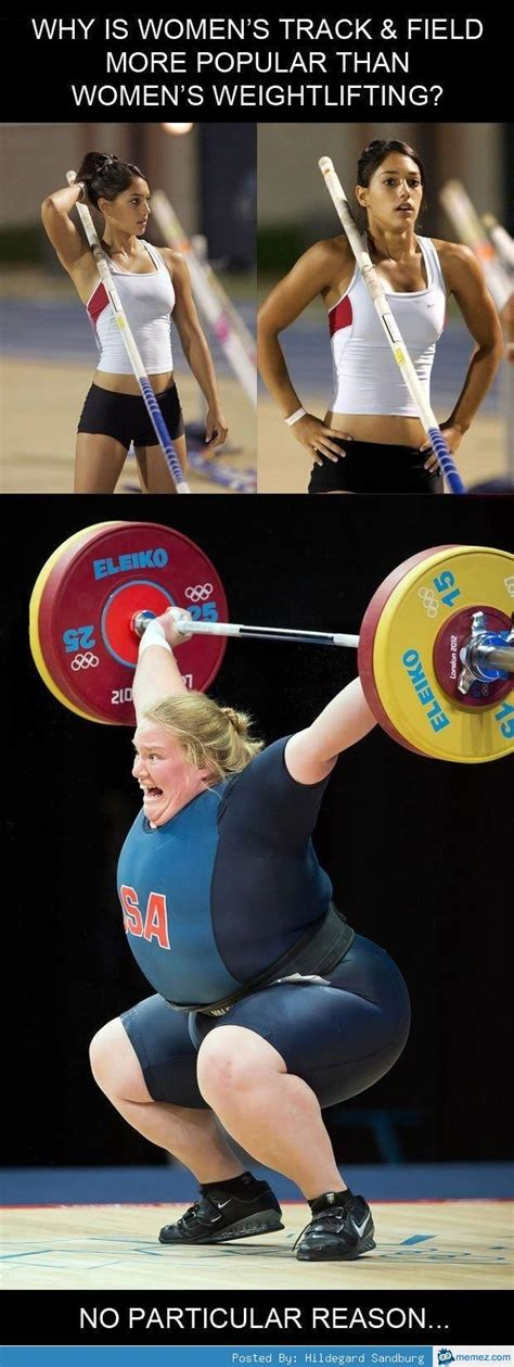 Woman Lifting Weights Meme - women s track and field vs women s weight lifting memes com
