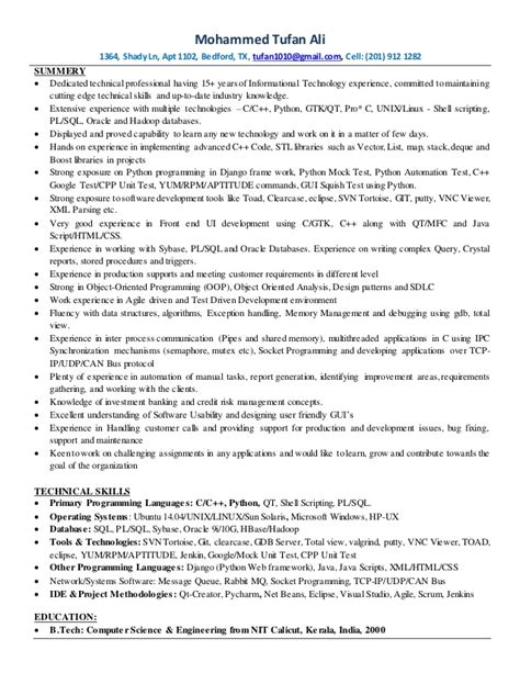 Python Developer Resume by C C Python Linux Developer Resume