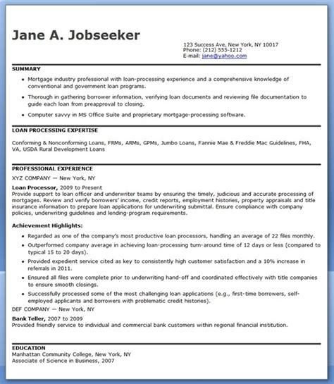 Resume Sles Loan Processor Mortgage Loan Processor Resume Templates Resume Downloads