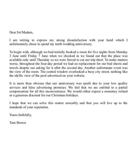 complaint letter hotel exle 28 images hotel