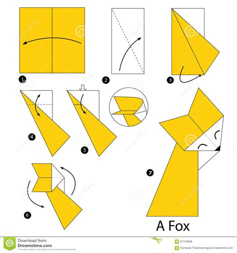 How To Make A Paper Fox - step by step how to make origami a fox stock