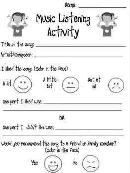 printable games for music music listening activity worksheet music activities