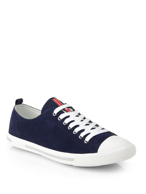 prada sneakers prada suede lo sneakers in blue for lyst